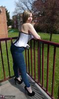 Posh Sophia. Thigh Boots On The Balcony Free Pic 1