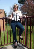Posh Sophia. Thigh Boots On The Balcony Free Pic 3