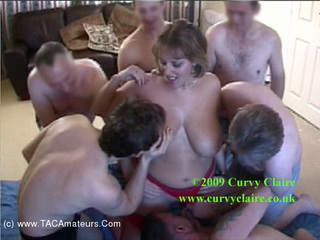 Curvy Claire - 7 Guy Gang Bang HD Video