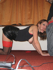 Like a dog He wanted me to dress into black and red outfit and put a dog collar on my neck. After a little posing he put a leash on. Rough sex, cougar, milf, european, domination