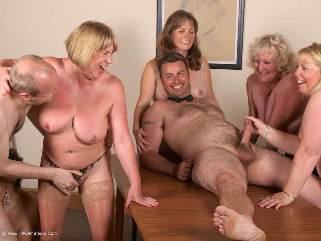 Touching Nude couple sex party