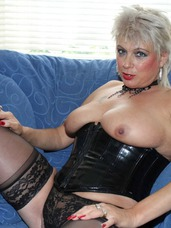 Black pvc boots  corset pt4 Dress in PVC corset thigh boots stocking and black panties in a some and pantiless in most. Also my voluminous natural boobs. Cougar, milf, united kingdom, mature, lingerie, high heels, petite, stockings, big tits, striptease, bdsm, pvc/latex