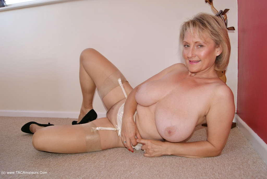 Judy Mayflower Busty Mature Blonde In Pantyhose Strips