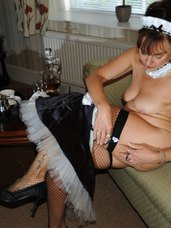 French maid . Mature, cougar, milf, hairy, petite, tiny