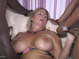 NudeChrissy - Blowing Two Black Cocks