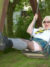 In the playground Hi Guys Its Naughty Schoolgirl Trisha and Im having some Fun in The Playground, Swinging on the Swings and Sliding down . Cougar, mature, milf, bbw/curvy, united kingdom, high heels, lingerie, stockings, feet/shoes, fingering, striptease, boots
