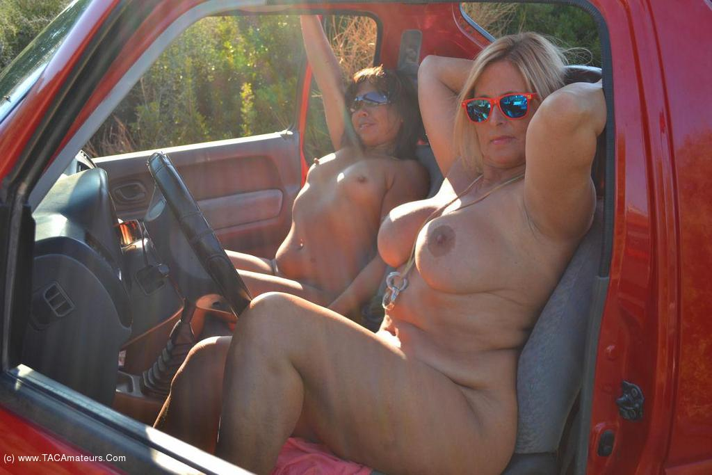 Flashing naked in my car going to a gangbang 4