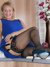 In the kitchen waiting to be make love Well you catch me in the kitchen this week, getting ready to have a pleasant dirty have sexual intercourse and a loud one at that, you know wha. Mature, cougar, milf, big tits, hairy, united kingdom, lingerie, legs, high heels, feet/shoes, fingering, sex toys, stockings, facials