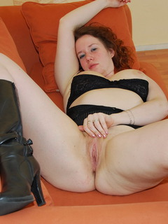 Jessica is laying on her couch at home when she is taking off her lingerie to show her pussy and big tits.