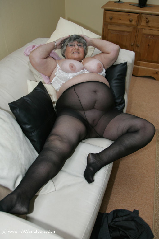 Grandmas wearing pantyhose, ebony on sofa porn