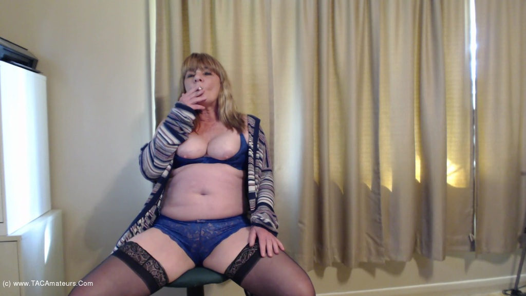 CougarBabeJolee - Pretty In Blue Smoking Fetish scene 3