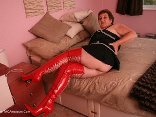 KinkyCarol - Red PVC Thigh Boots Pt1
