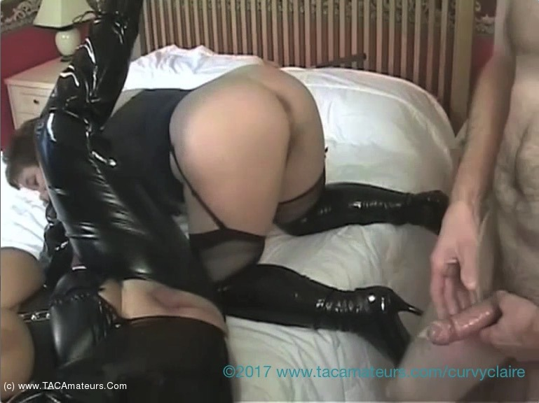 CurvyClaire - Curvy Claire's PVC Lesbo 3 Some With Kinky Carol Pt4 scene 2