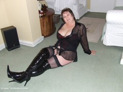 KinkyCarol - See Through Top & Black PVC Thigh Boots Gallery