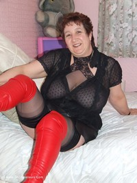 kinkycarol - See Through Top & Red Leather Thigh Boots Free Pic 4