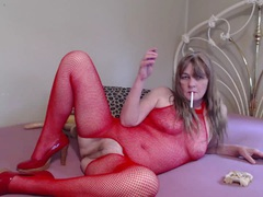 CougarBabeJolee - Red Fishnet Body & Smoking HD Video