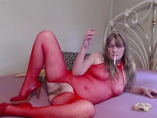Red Fishnet Body & Smoking