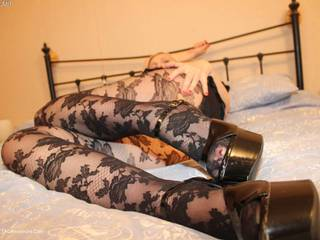 TraceyLain - Black Patterned Pantyhose