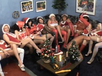 10 wives of the dildo Club met at the Christmas party. Then they get a guy under the Santa Claus costume, and as punishm