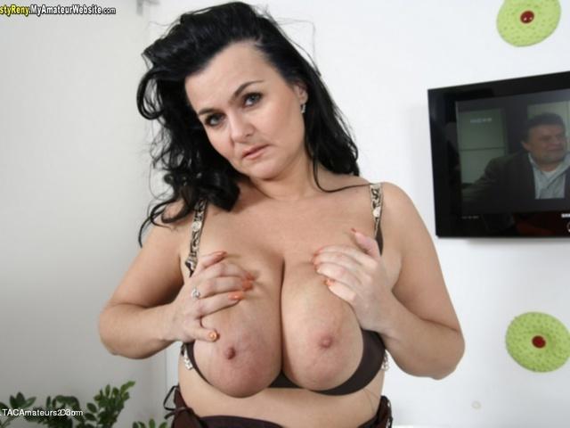 Big boobs on white table