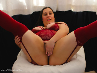 Kimberly Scott - Burgundy Suspender Teddy Pt1 Picture Gallery