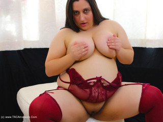 Kimberly Scott - Burgundy Suspender Teddy Pt2 Picture Gallery