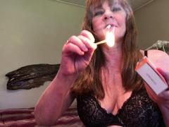 CougarBabeJolee - Smoking In Lace Bra HD Video