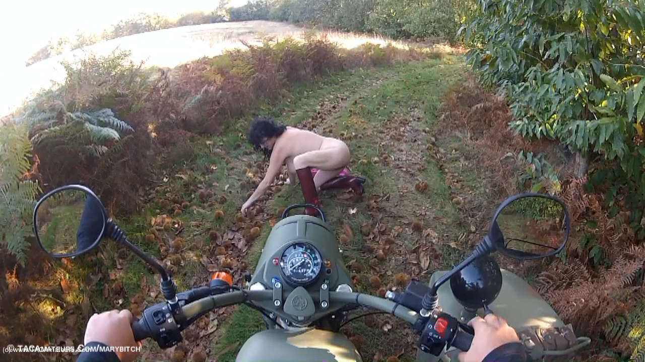MaryBitch - Naked Sidecar Ride In The Forest Pt3 scene 0