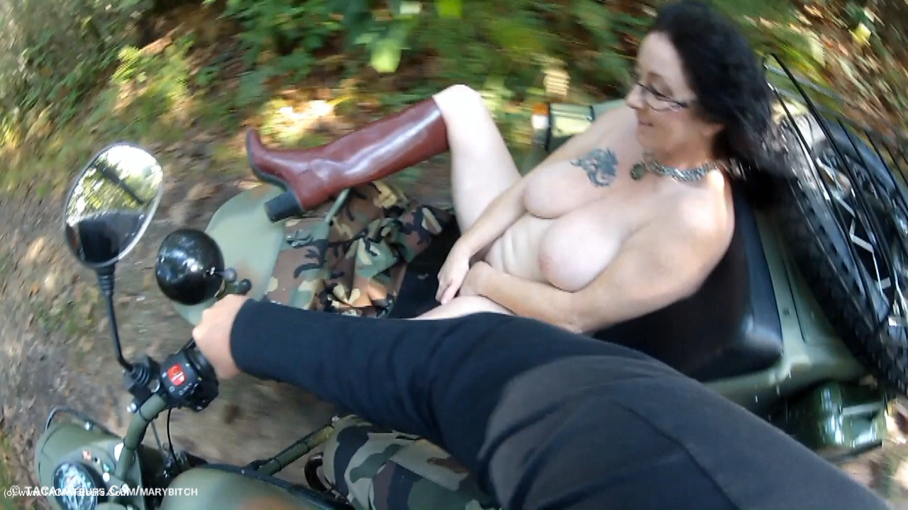 MaryBitch - Naked Sidecar Ride In The Forest Pt3 scene 3