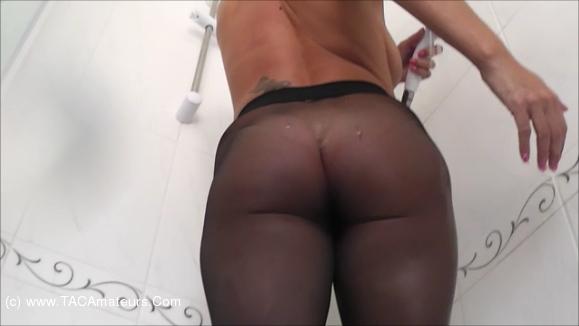 RaunchyRaven - Raven Pantyhose Shower scene 0