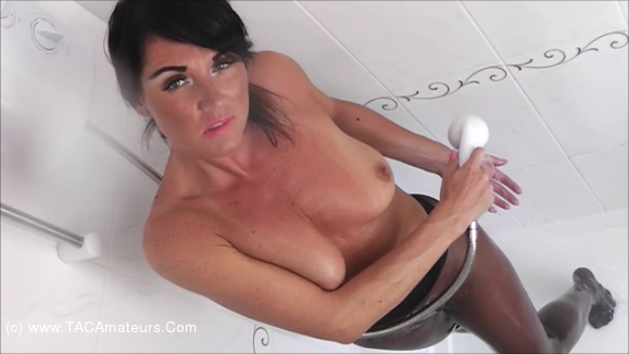 RaunchyRaven - Raven Pantyhose Shower scene 1