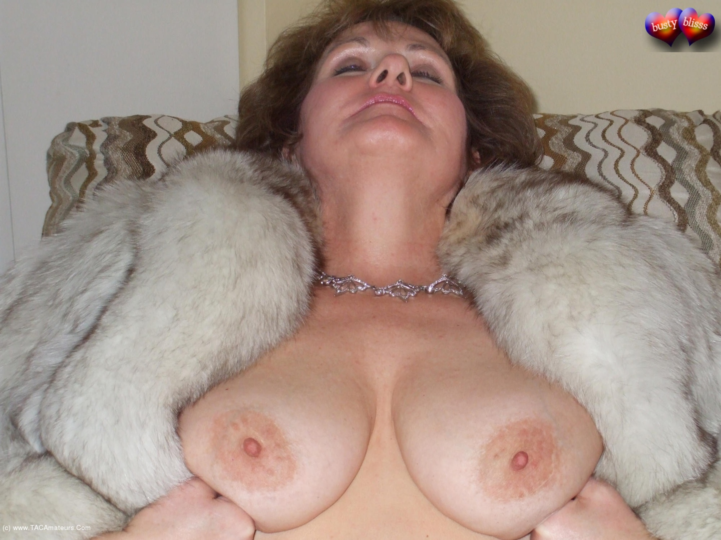 BustyBliss - Busty Bliss In Fur Sucking & Cummed Breasts Pt1 scene 0
