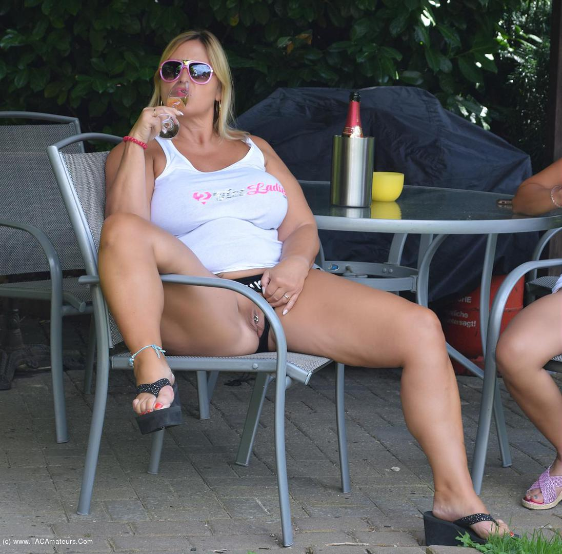 NudeChrissy - Two Hot Ladies Champagne At The Pool scene 0