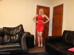 TraceyLain - Sexy Red Dress On The Couch Gallery