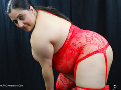KimberlyScott - Red Bodystocking Pt2 Gallery