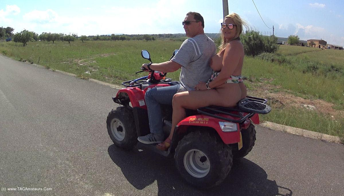 NudeChrissy - Mallorca Quad Ride Naked Two Up scene 0