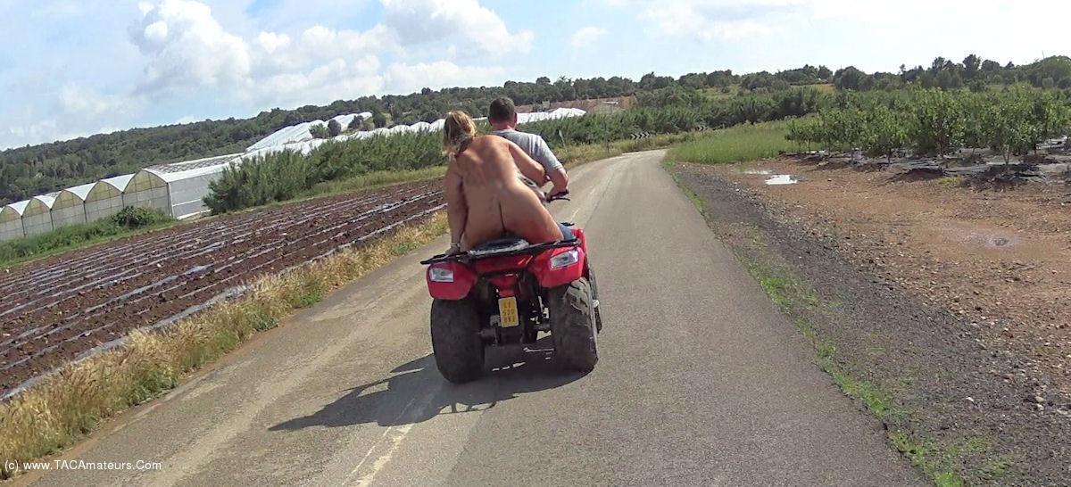 NudeChrissy - Mallorca Quad Ride Naked Two Up scene 2