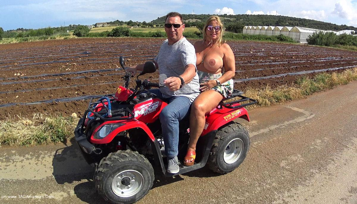 NudeChrissy - Mallorca Quad Ride Naked Two Up scene 3