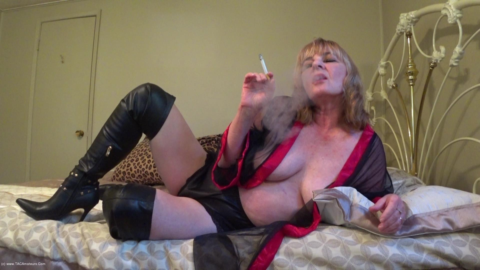 CougarBabeJolee - In Lingerie & Boots, Smoking While You Stroke scene 0