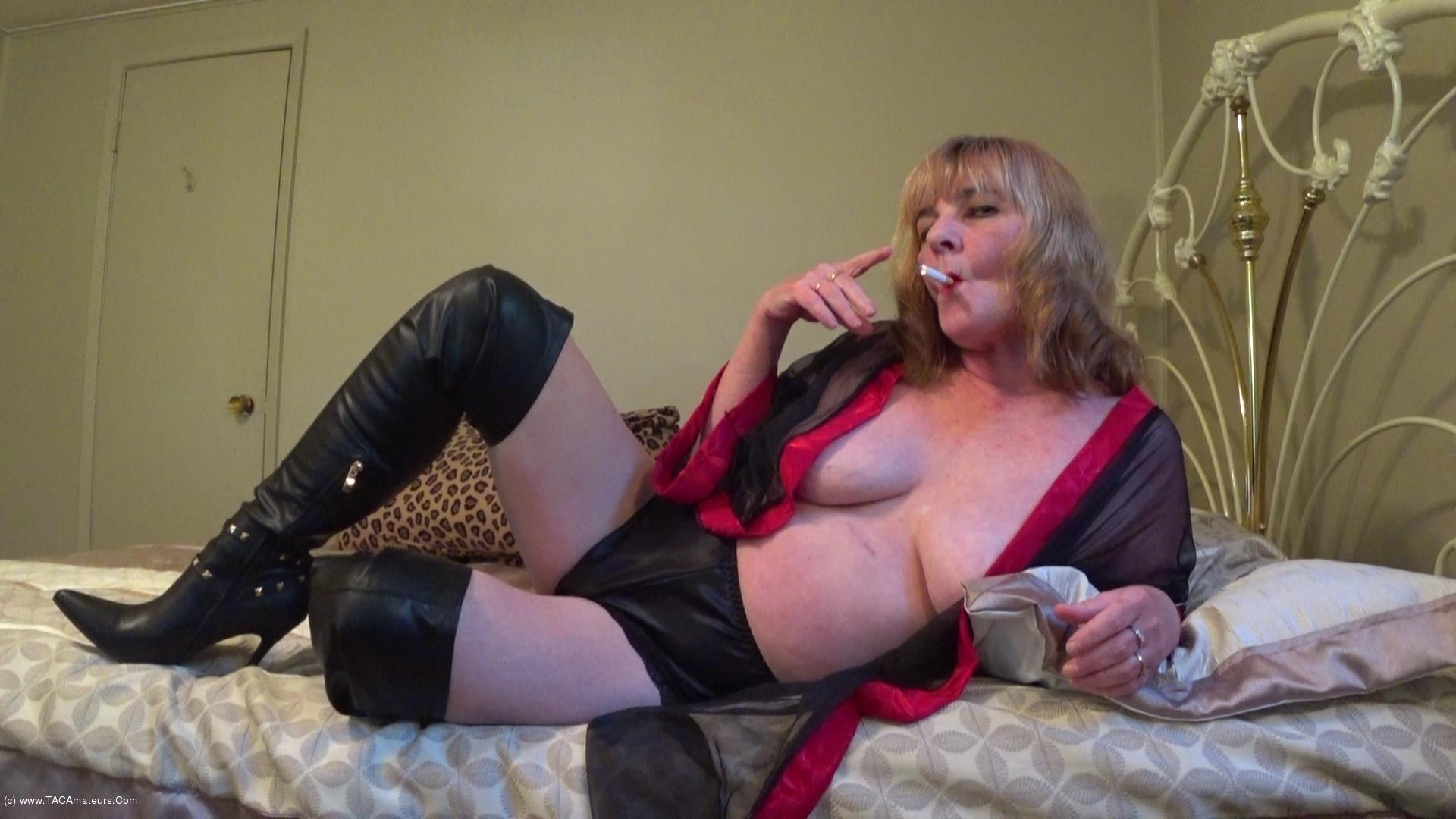 CougarBabeJolee - In Lingerie & Boots, Smoking While You Stroke scene 1