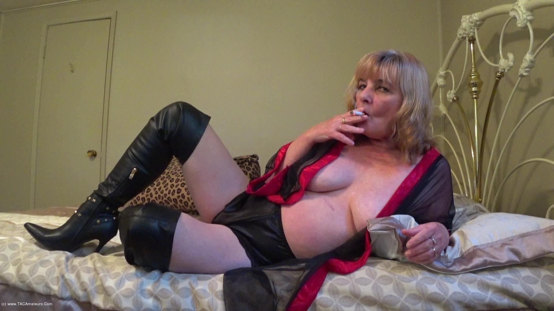 CougarBabeJolee - In Lingerie & Boots, Smoking While You Stroke scene 2