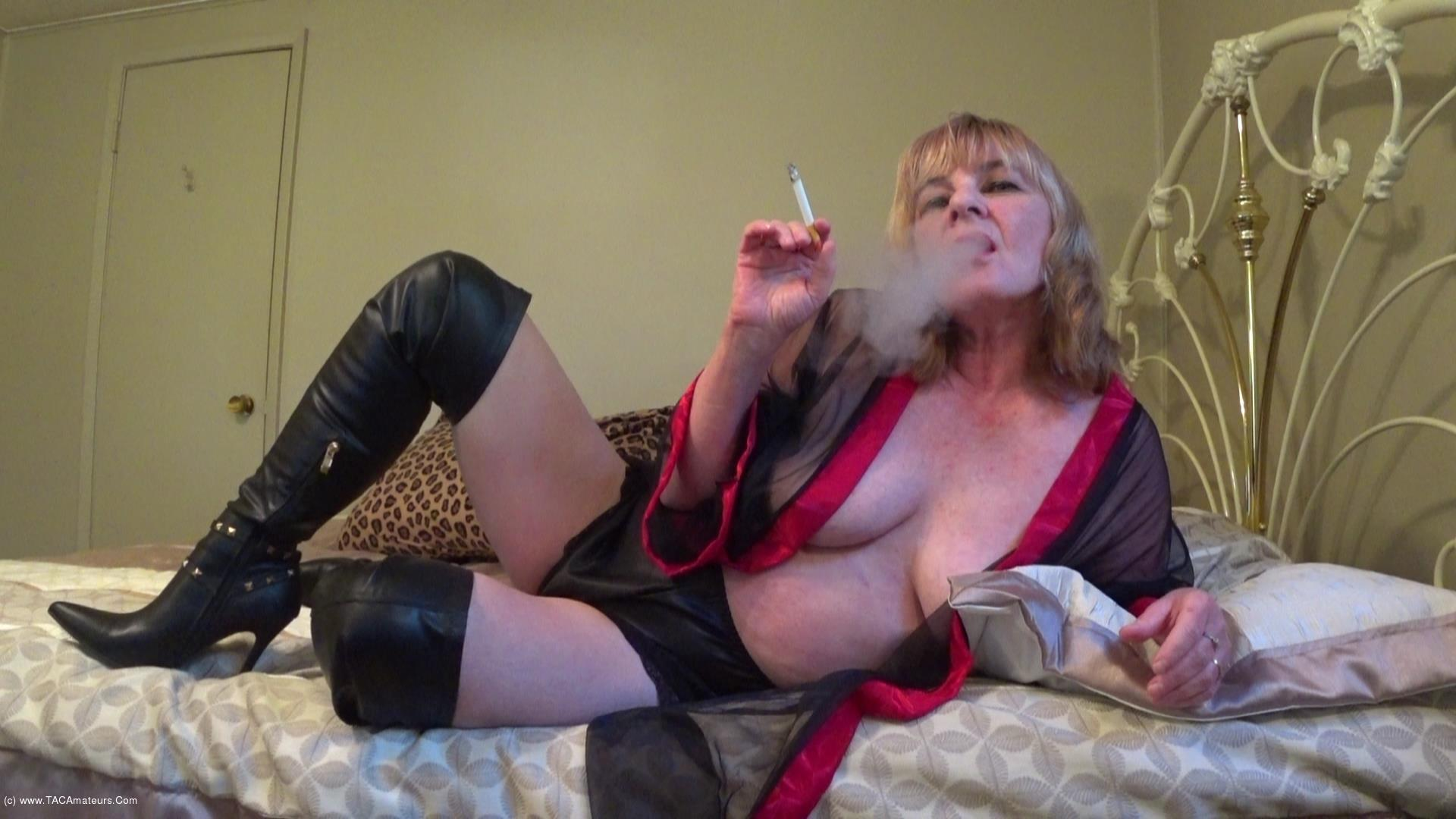 CougarBabeJolee - In Lingerie & Boots, Smoking While You Stroke scene 3