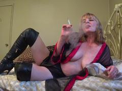 CougarBabeJolee - In Lingerie & Boots, Smoking While You Stroke HD Video