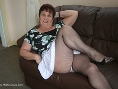 KinkyCarol - White Frilly Mini & Fishnets Pt1 Gallery