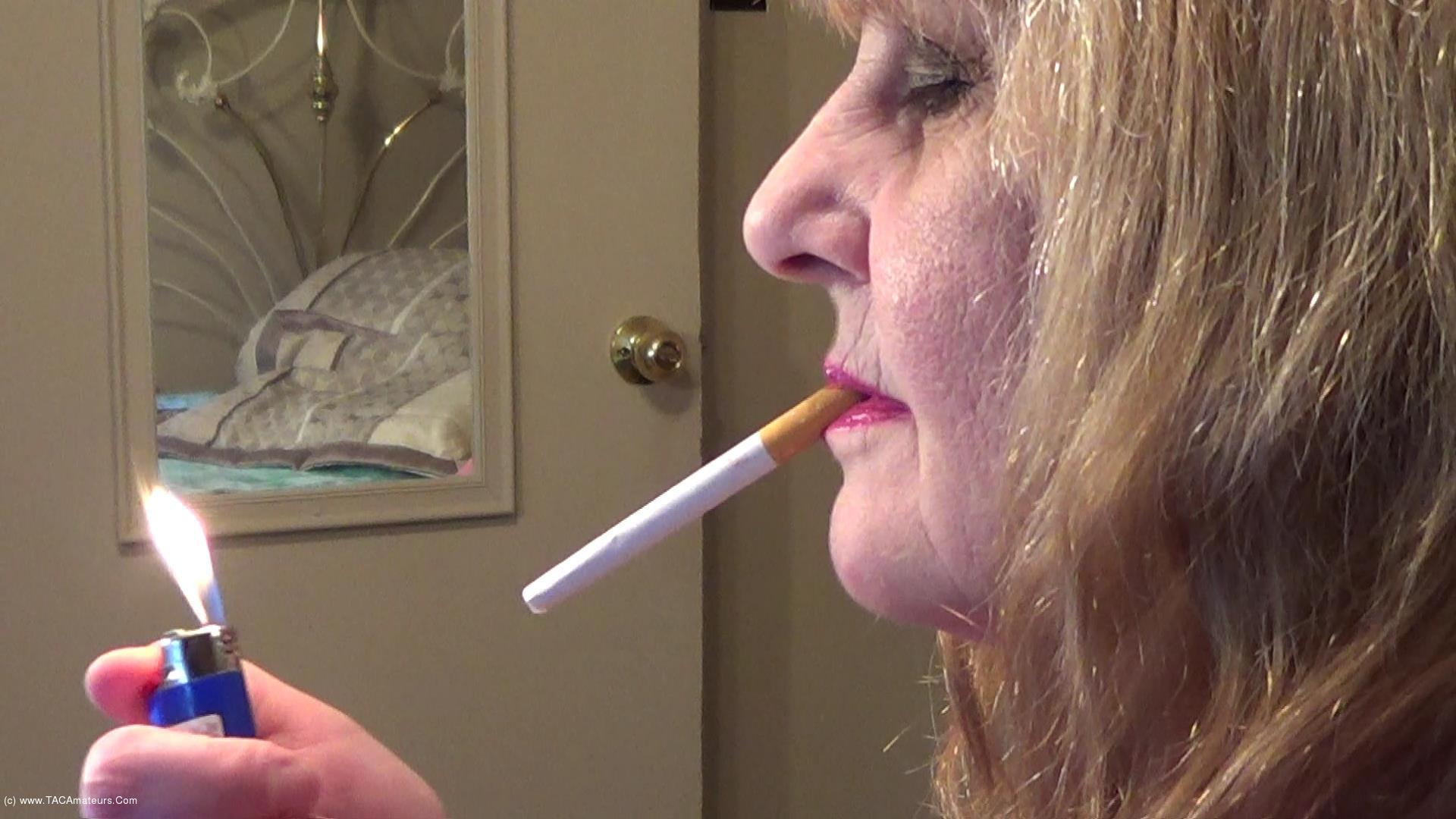 CougarBabeJolee - Side View Smoking Closeup scene 0