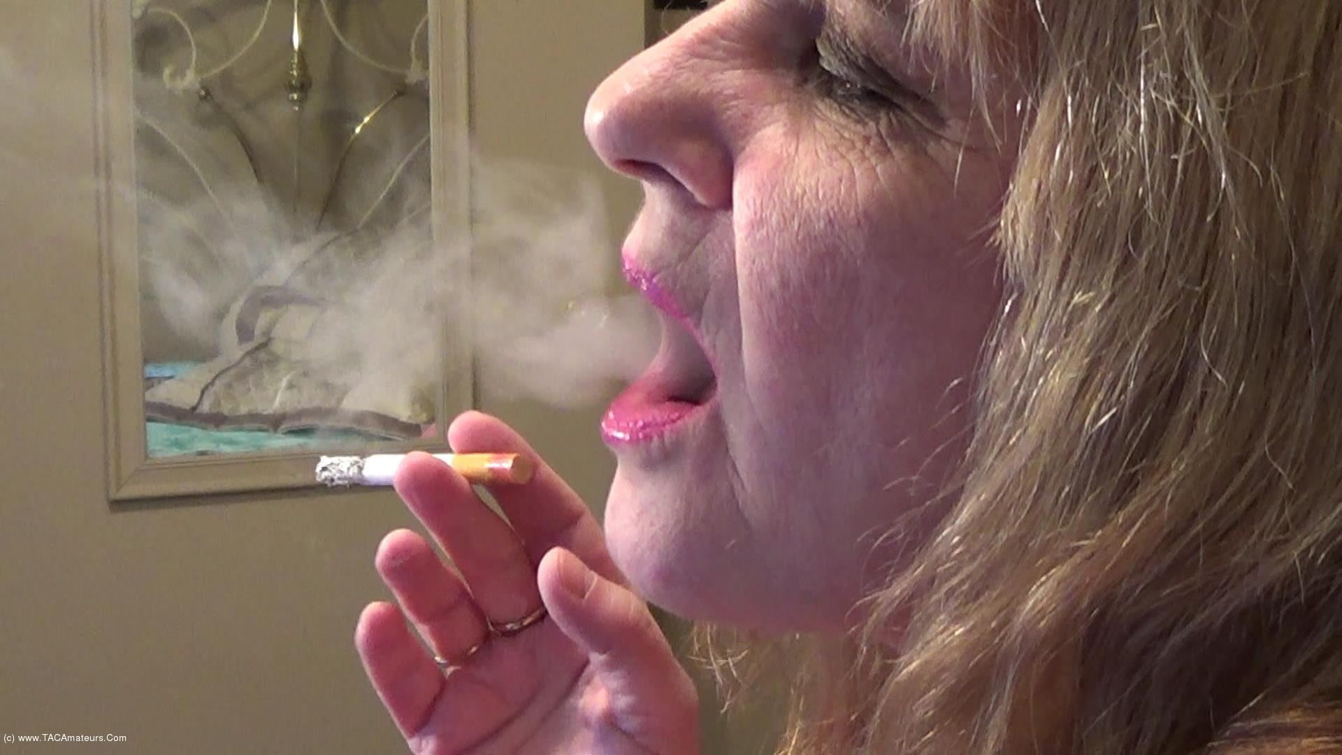 CougarBabeJolee - Side View Smoking Closeup scene 1