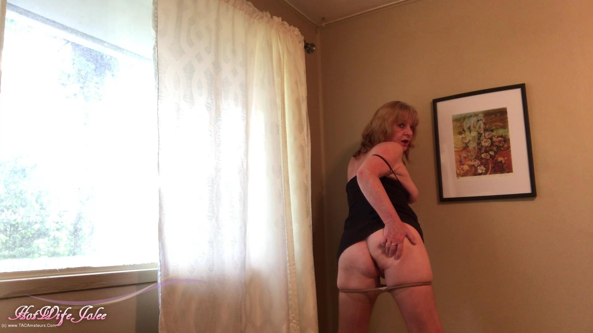 CougarBabeJolee - Little Black Dress & Pantyhose Tease scene 3