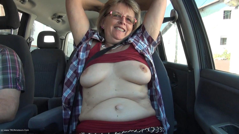 AbbyRoberts - Natural boobs in the car.  scene 3