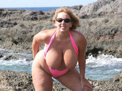 CurvyClaire - Mankini On The Rocks Pt1 Gallery