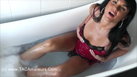 RaunchyRaven - Raven Has A Bath In Red Satin Nightwear scene 0